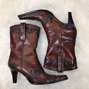 Antonio Melani Leather Cowboy Boots In 8M